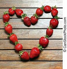 a, herz, gemacht, von, erdbeeren