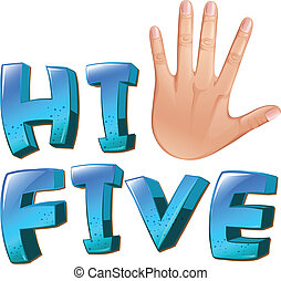 A hi-five artwork with a palm - Illustration of a hi-five...