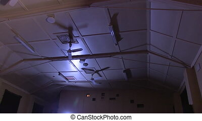 A high ceiling from inside a movie theatre - A shot of a...