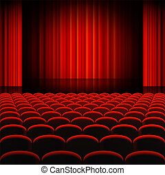 Red Curtains Theater Stage - A high detail vector...