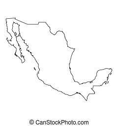 High detailed Outline of the country of Mexico - A High ...