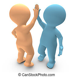 This 3D picture illustrates a high five between two persons that celebrate a success