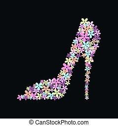 a high heel shoe of flowers