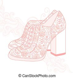 A high-heeled vintage shoes with flowers fabric. High heels...