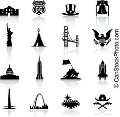 famous monuments and Icons of American Culture. - A high...