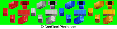 A high quality image of 20ft shipping containers on a green background.