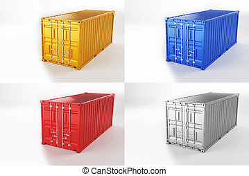 A high quality image of 20ft shipping containers on a white background.