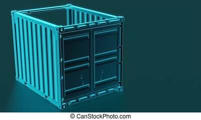 A high quality image of a blue 10ft shipping container building. Ten foot sea shipping container