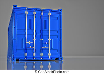 A high quality image of a blue 20ft shipping container on a white background. 3d render