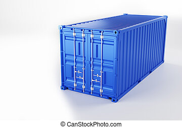A high quality image of a blue 20ft shipping container on a white background.