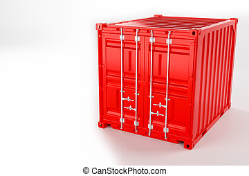 A high quality image of a red 10ft shipping container on a white background.