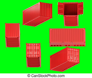 A high quality image of a red 20ft shipping container on a green background.