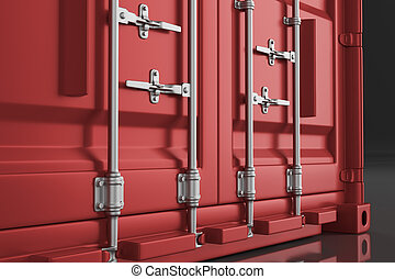 A high quality image of a red 20ft shipping container on a white background. 3d render