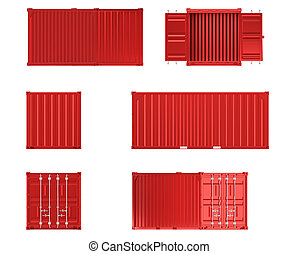 A high quality image of a red 20ft shipping container on a white background.