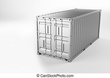 A high quality image of a white 20ft shipping container on a white background.