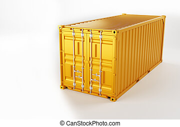 A high quality image of a yellow 20ft shipping container on a white background.