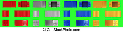 A high quality image of shipping containers on a green background.