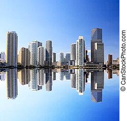 a, high-rise, edifícios, em, centro cidade, miami