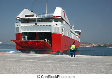 a high speed ferry boat docking in the greek islands