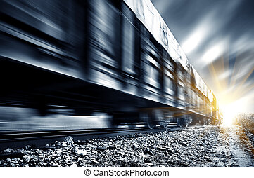 Freight train - A high-speed Freight train, motion blur.