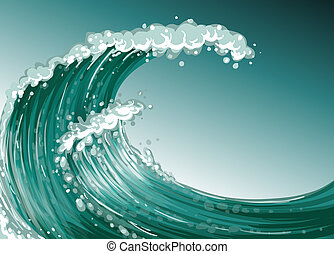 A high wave at the sea - Illustration of a high wave at the...