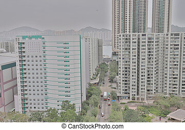 a, hight, 光景, の, 住宅の, 建物, 区域