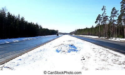 A highway with thick snow