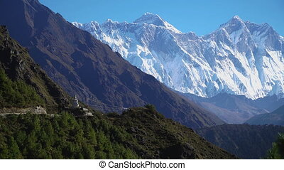 A hiking trail to the base camp of Everest