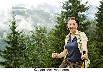 hiking - a hiking woman