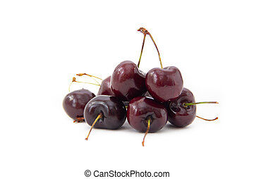 A hill of sweet cherry isolated on white background
