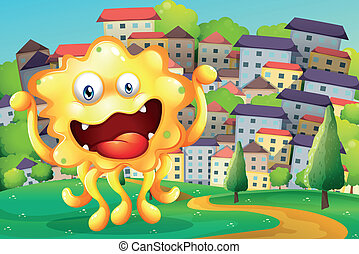 A hilltop across the tall buildings with a happy yellow monster