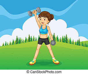 A hilltop with a girl exercising - Illustration of a hilltop...