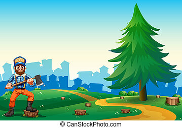 A hilltop with a hardworking woodman holding an axe