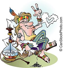 A hippie smoking a joint - Vector cartoon illustration of a...