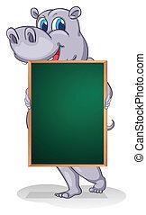 A hippopotamus holding an empty board