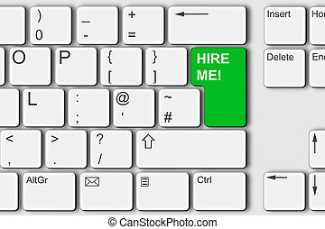 Hire me concept PC computer keyboard illustration