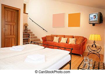 a, histórico, sala de estar