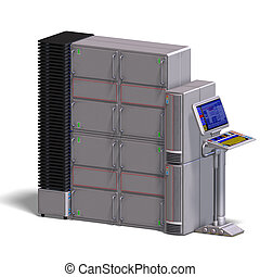 a historic science fiction computer or mainframe. 3D rendering with clipping path and shadow over white