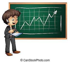 A hitech businessman in front of the blackboard
