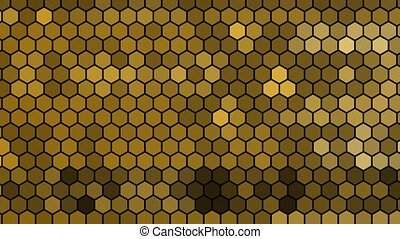 a hive for bees with a deep zoom on a pair of golden alveolus - animation