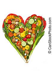 a, hjärta, gjord, av, vegetables., friskt ätande