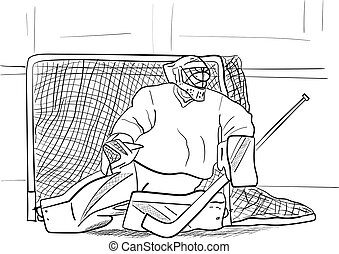 a hockey goalkeeper on the ice