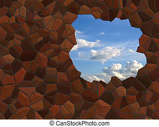 A hole in the wall, clear sky beyond