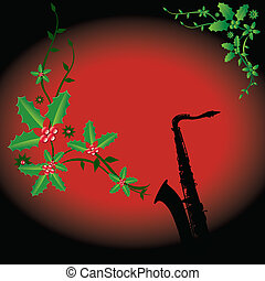 holiday background with a sax - A holiday background with a...