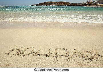 holiday inscription on the beach