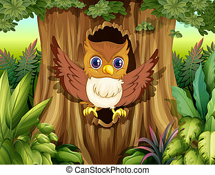 A hollow tree with an owl - Illustration of a hollow tree...