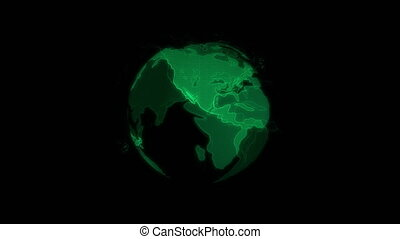 A hologram of earth is spinning on a black background. Planet Earth is green and glows. Motion graphics.