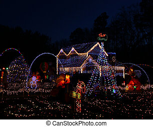 A Home decorated and lighted with 650,000 lights and over 60...