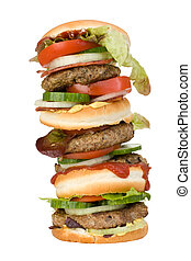 hamburger - a home made quadruple hamburger isolated on...