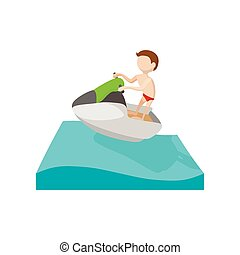 Jet quitation ski bateau homme t minage jet dessin main par homme quitation - Jet ski dessin ...